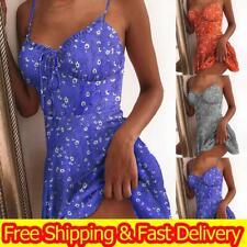 Womens Boho Floral Sexy Strappy Mini Dress Summer Holiday Beach Party Sundress