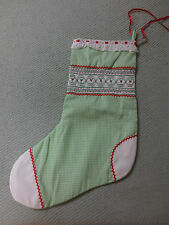 Hand Crafted SMOCKED & EMBROIDERED Gingham CHRISTMAS Stocking - Berry Design