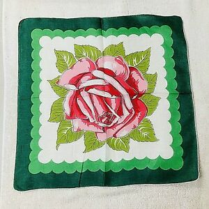 Vintage Hankie Big Ole Red Rose with Deco Looking Accents 14 Inches