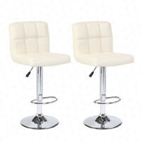 Set of 2 Cream Bar Stools Adjustable Swivel Pub Chairs PU Leather Modern Design