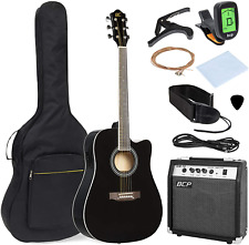 Black Wood Full Size Acoustic Electric Cutaway Guitar Set 10 Watt Amp Case Bag
