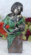 Mutter mit Kind Statue Frau Skulptur Figur Mutterliebe Frauenskulptur Kunst Deko