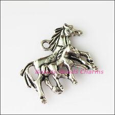 4Pcs Antiqued Silver Tone Honey Horses Animal Charms Pendants 22x29mm