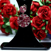 NATURAL RED RUBY & WHITE CZ PENDANT 925 STERLING SILVER