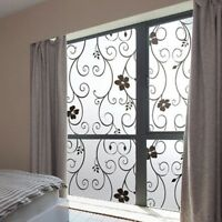 Sweet Frosted Privacy Cover Glass Window Door Black Flower Sticker Film Decor
