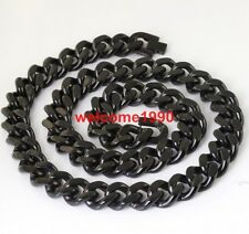 15mm 24'' Plated Black Stainless steel Cuban Curb Chain Necklace For Mens Gifts
