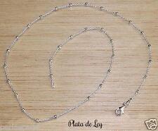 CADENA de PLATA de ley 925 a 45 cm con bolitas diamantadas. Diseño italiano