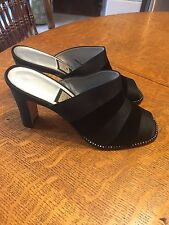 WOMAN'S NEW NINA BLACK FABRIC VELVET/SATIN STRIPE STONE STUDS SLIDES SZ 7 1/2 M