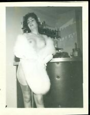 2 1950s NUDE WOMAN 4X5  B/W Photographs MATURE BUSTY BRUNETTE n STOCKINGS & FUR