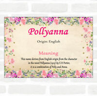 Pollyanna Name Meaning Floral Certificate