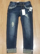 """New Wallflower Lucious Curvey 25"""" Crop Stretch Distressed Denim Jeans Size 0"""