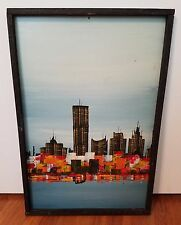 Mid Century Modern Signed Original Abstract Painting, City Skyline, Orange Color