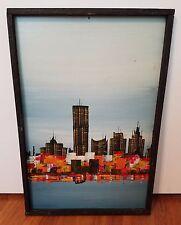 Mid Century Modern Signed Original Abstract Painting, City Skyline, Orange Color