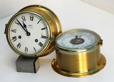 A Vintage SCHATZ Germany ships nautical bell clock & barometer. Working