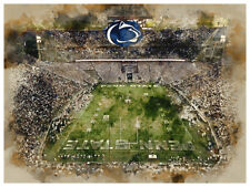"""Penn State Nittany Lions Poster Watercolor Art Print Man Cave Decor 12x16"""""""