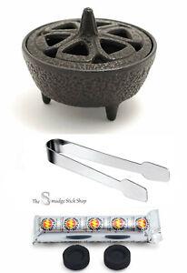 Incense/Resin Burner Kit Cast Iron Burner, Tongs plus 10 Charcoal Discs