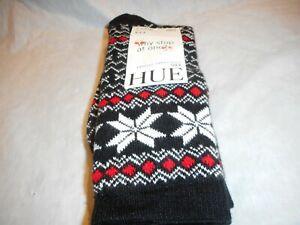 N/W/T 2 Pair Women's Hue Fairisle Tipped Black Multi color Boot Sock Size O/S