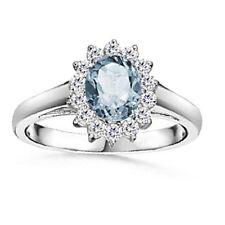 ORO bianco 1.30 kt acquamarina e diamante anello di Cluster