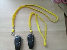 2 BLACK DOG PUPPY OBEDIENCE TRAINING CLICKERS WHISTLES W LANYARD MINOR DEFECT