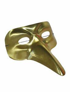 Augenmaske Metallic gold Langnase - Erwachsene
