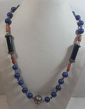 NATURAL LAPIS FACETED FASHION NECKLACE WITH CORAL AND BLACK AGATE