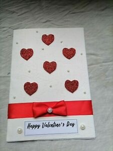 Handmade Valenting's Day Card With Heart and Perls & Bow Nice Simple Card Design