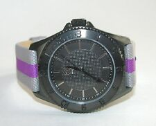 G BY GUESS GREY,GRAY+PURPLE CANVAS STRAP+BLACK DIAL WOMEN'S WATCH-G74035G1-NEW