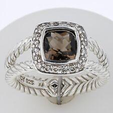 David Yurman Sterling Silver Smokey Quartz & Diamond Petite Albion Halo Ring