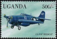 WWII Grumman F4F WILDCAT Carrier-Based Fighter Aircraft Stamp (1998 Uganda)