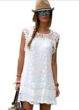 Ladies Women Sleeveless Lace Floral Long Top Mini Dress Kaftan Tunic XLarge