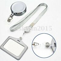 1Pc Retractable Reel Recoil ID Badge Lanyard Name Tag Key Card Holder Belt Clip