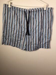 Peter Alexander Men's Blue Striped Pyjama Sleep Shorts Size 2XL Cotton Good Cond