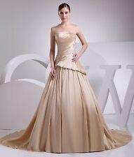 New Champagne Applique Ruching White/Ivory Bridal Wedding Dress Custom All Size