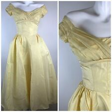 Vtg 50s Priscilla Of Boston Gown Pale Yellow Off Shoulder Taffeta Prom Wedding