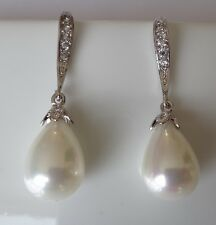 Bridal Wedding Swarovski Elements Drop Pearls Vintage Long Silver Hook Earrings