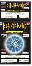 RARE / TICKET BILLET CONCERT - DEF LEPPARD LIVE A PARIS 1993 + CARTON INVITATION