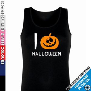 Ladies Love Halloween Pumpkin Vest • Tank Top Womens Party Top Halloween Outfit