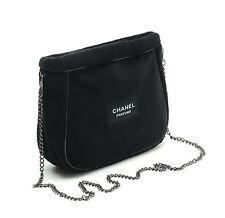 NIP USA Chanel Parfums Black BeauteMakeup VIP Gift Soft W/Chain shoulder Bag