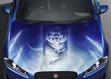 White Tiger Car Bonnet Wrap Full Color Vinyl Sticker Decal Fit Any Car
