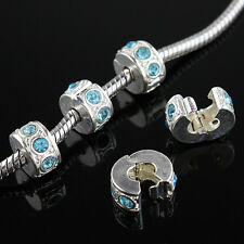 5Pcs Czech Crystal Silver Charm Beads Clips Locks Stoppers for European Bracelet