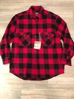 Mens Flannel Shirt Jacket Large Red black buffalo plaid Moose Creek New