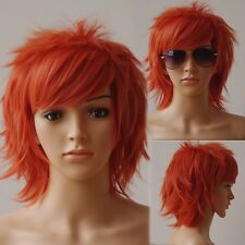 US STOCK Fashion Cosplay Wig Short Straight Anime Full Wigs Orange Pink Purple h