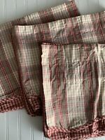 3 Waverly Red Tans Cream Gingham Check Valances Cotton Farmhouse Country 80 x 16