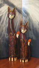 Pair Xtra Large Hand Painted Wood Carved Cat Statue Figurine Ornament