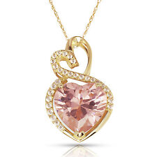 4.20 Carat Halo Pink Sapphire Double Heart Gemstone Pendant & Necklace14K Y Gold