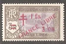 French India 1943,France Libre ,1fa3ca on 3r,Scott # 206,VF MLH*OG (FC-4)