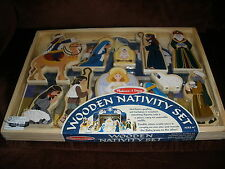 Melissa & Doug Wooden Nativity Set - Includes Stable and 11 Figures- New in Box