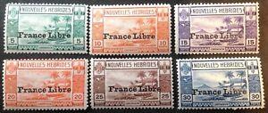 New Hebrides 1925 6 x France Libre stamps mint hinged