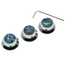 Set of 3 Chrome Abalone Top Strat Guitar Metal Knobs for 6mm Pots w/ Set Screw