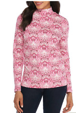 Kim Rogers Cotton Fine Ribbed Mock Neck L/S Top L Pink Combo  Msrp. $26.